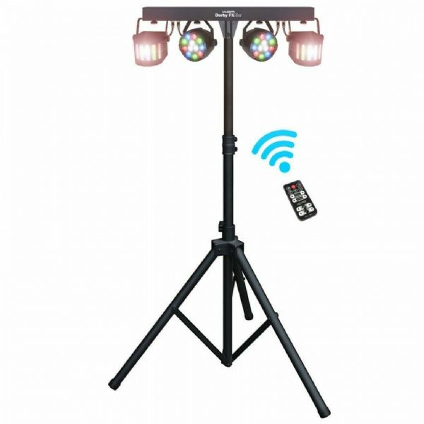 KAM DERBY EFFECTS BAR INC. 4 LIGHTS/STAND - 9018D